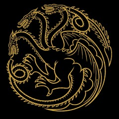 Gold tattoo dragon illustration