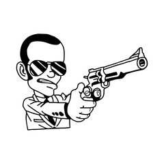 illustration vector hand drawn doodle of man in suit holding gun