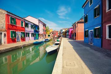 One of the streets of Burano island near Venice, Italy