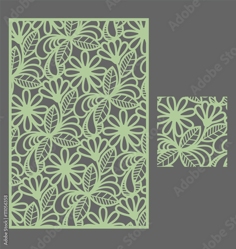 laser cut vector panel and the seamless pattern for decorative panel