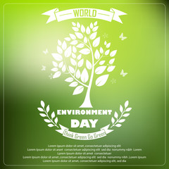 World environment day with shape typography trees