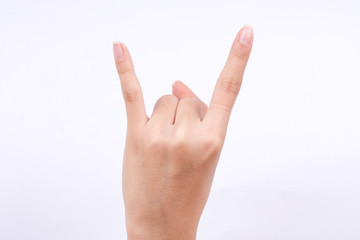 finger hand symbols isolated the concept devil horn rock and roll gesture shape on white background