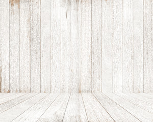 Empty white wood room with peeling paint.