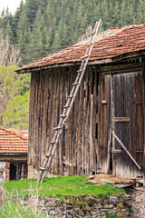 Old wooden ladder in front of historic barn