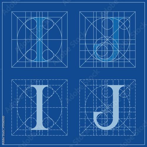 Designing initials letters i and j blueprint stock image and designing initials letters i and j blueprint malvernweather Choice Image