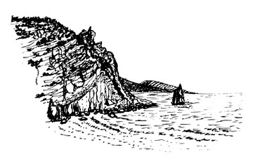 drawing landscape view on the rock sail near the Swallow's Nest, ink sketch hand-drawn vector illustration
