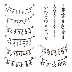 Set of hand drawn vector garlands