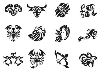 Zodiac signs sets illustration