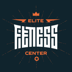 Elite Fitness Center -  emblem or logo with original lettering.