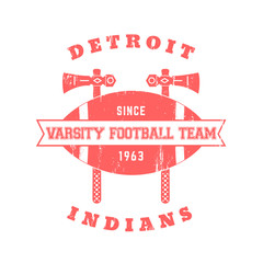 Football team vintage t-shirt print isolated on white, vector illustration