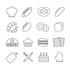 Bread and bakery vector outline linear icons set