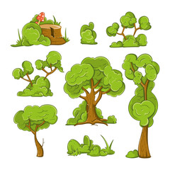 Cartoon trees and bushes vector set