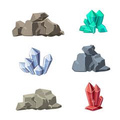 Wall Mural - Cartoon minerals and stones vector set