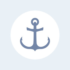 Nautical anchor icon isolated on white, vector illustration