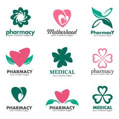 Logos for pharmacies, clinics, medical and health