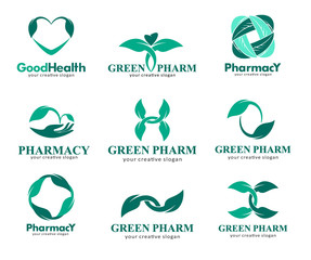 Logos for pharmacies, clinics, medical, cosmetics and health