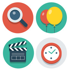 Vector flat icons magnifier, baloon, clapper and watch