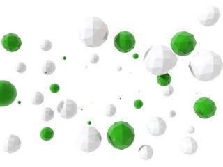 Low poly glossy white and green spheres