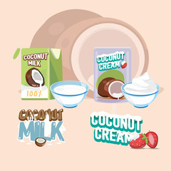 coconut milk and cream with letter design - vector