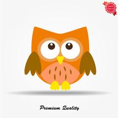 Owl. Single flat icon on white background. Vector illustration.