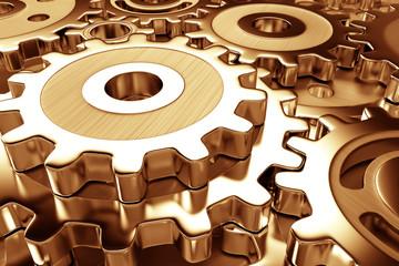gear wheels in dark gold