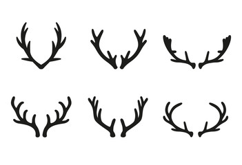 Vector deer antlers black icons set.