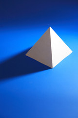 White Pyramid On Blue