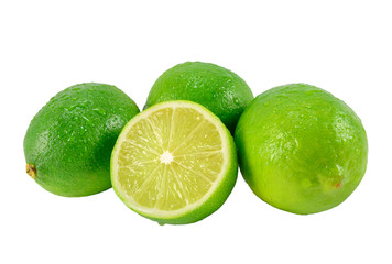Ripe lime green with cutting half