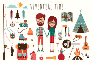 Camping elements collection with characters (flat design)