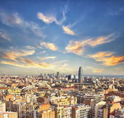 Beautiful landscape of the center of Barcelona . Travel and Business background