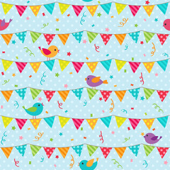 Bunting with sitting birds