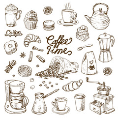 Collection of coffee doodle elements for cafe menu, fliers, chalkboard