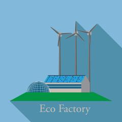 Green energy, urban landscape, ecology. flat design vector concept illustration.