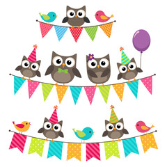 Birthday bunting with owls