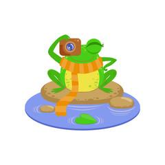Photographer Cartoon Frog Character