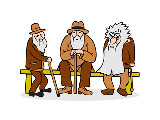 Funny three old men sitting on the bench. Old man with hat and w