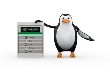 3d penguin standing with credit score ratings