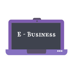 Isolated purple laptop with the text e-business written on its screen