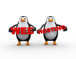 3d penguin holding web hosting