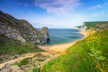 Wall Murals Sea Durdle Door at the beach on the Jurassic Coast of Dorset, UK