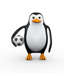 3d penguin and soccer football