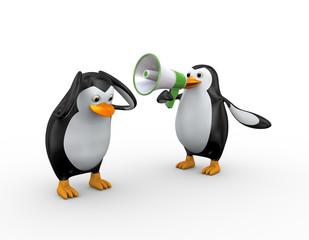 3d penguin megaphone shouting