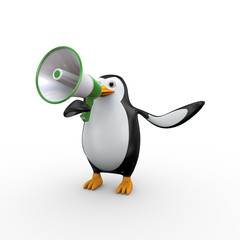 3d penguin megaphone announcement