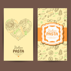 Vector business cards with Italian pasta for restaurants