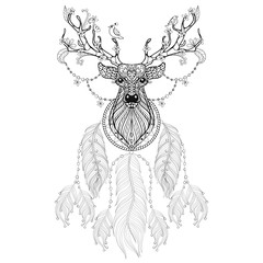 Hand drawn zentangle Dreamcatcher with tribal Hprned Deer with f