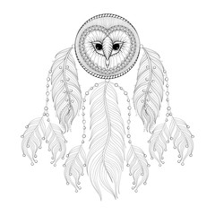 Hand drawn zentangle Dreamcatcher with tribal Owl face for adult