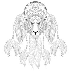 Hand drawn zentangle Dreamcatcher with tribal Tiger face for adu