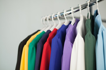 Colorful costumes on a hanger