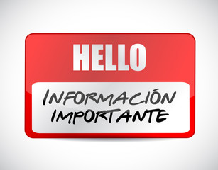 important information name tag Spanish sign