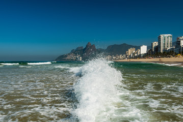 Low Waves on the Sand of Ipanema Beach in Rio de Janeiro